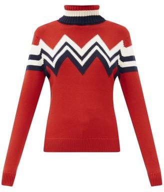 Perfect Moment Chevron-striped Merino-wool Roll-neck Sweater - Red Multi