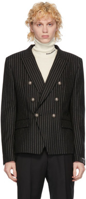 Balmain Black and White Wool Striped Double-Breasted Blazer