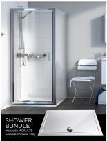 Aqualux Source Pivot Door, Side Panel, Aq25 Sphere Shower Tray 900 X 900mm