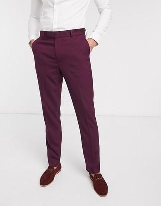 Asos DESIGN wedding skinny suit pants in burgundy