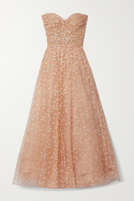 Monique Lhuillier Daisy Strapless Glittered Tulle Gown - Blush