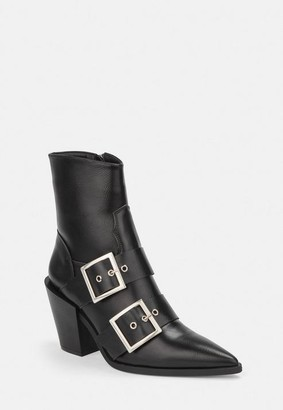 Missguided Black Double Buckle Western Boots