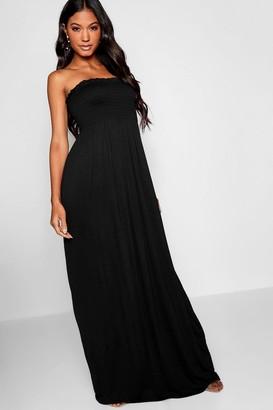 boohoo Shirred Bandeau Maxi Dress