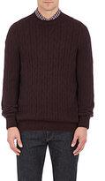 Ermenegildo Zegna Men's Cashmere Cable-Knit Sweater-BURGUNDY
