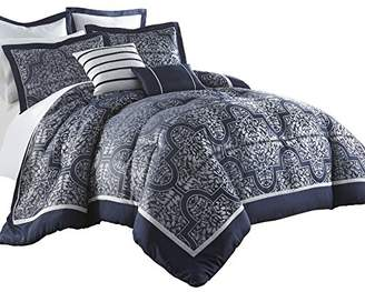 Chezmoi Collection Com Mayan 7-Piece Navy Jacquard Floral Comforter Set (Queen)