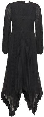 Zimmermann Espionage Lace-paneled Pleated Fil Coupe Chiffon Midi Dress