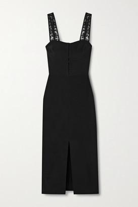Fleur Du Mal Lace-trimmed Silk Crepe De Chine Midi Dress - Black