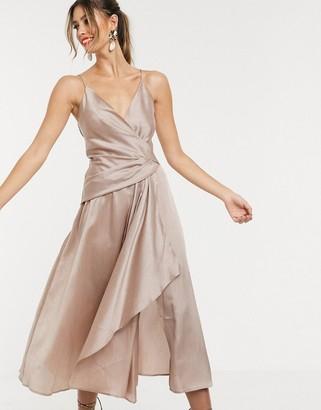 ASOS DESIGN textured wrap cami midi dress with drape asymmetric detail