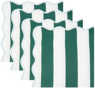 Angela Wickstead - Set Of Four Scalloped Linen Napkins - Green Stripe