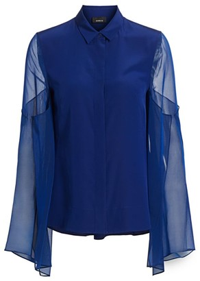 Akris Sheer Exaggerated Sleeve Blouse