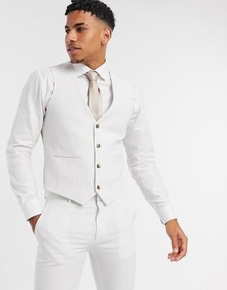 ASOS DESIGN wedding super skinny suit suit vest in ice gray