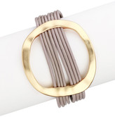 Saachi Taupe Hammered Oval Leather Bracelet