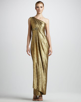Notte by Marchesa Draped Metallic Gown