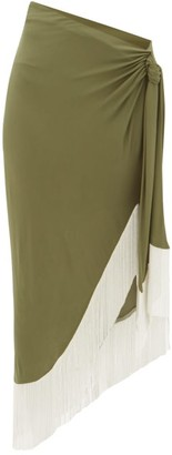 Balmain Chain-fringed Wrap Jersey Skirt - Womens - Khaki