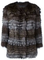 Yves Salomon striped fur coat - women - Cotton/Fox Fur/Spandex/Elastane - 36