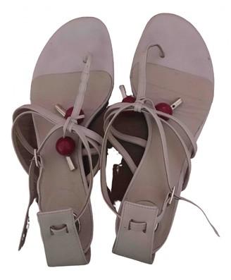 Elisabetta Franchi Pink Leather Sandals