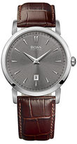HUGO BOSS Mens Slim Ultra Round Stainless Steel and Dark Brown Leather Watch