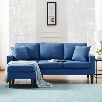 George Oliver Higginson 77.16'' Wide Reversible Sofa & Chaise with Ottoman Body Fabric: Navy Blue