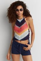 American Eagle Outfitters AE Crochet Lace-Up Halter Top
