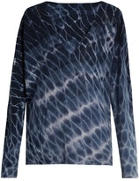 Raquel Allegra Distressed tie-dye wool and cashmere-blend sweater
