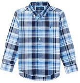 Ralph Lauren Long-Sleeve Plaid Sport Shirt, Blue, Size 2-4