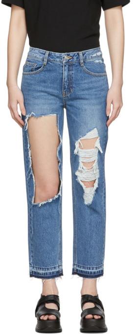 Sjyp Blue Destroyed Tomboy Jeans