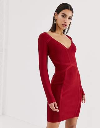 Lipsy v neck bandage dress in red