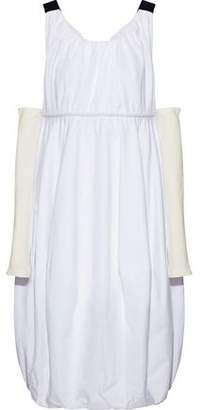 J.W.Anderson Jersey-paneled Gathered Cotton-poplin Midi Dress