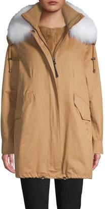 Derek Lam 10 Crosby Fox Fur-Trim Parka & Faux Fur Vest