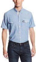 U.S. Polo Assn. Men's Slim Fit Button Down Solid Canvas Sport Shirt, Pale Blue