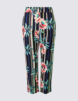 M&S Collection PETITE Striped Cropped Slim Leg Trousers