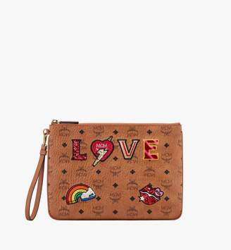 MCM Zip Pouch In Love Patch Visetos