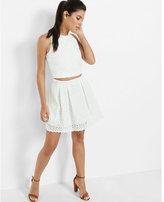 Express ivory floral eyelet full mini skirt