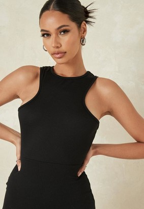 Missguided Petite Black Rib Racer Neck Mini Dress