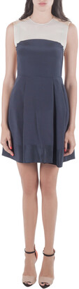 3.1 Phillip Lim Navy Blue and Beige Silk Color Block Dress S