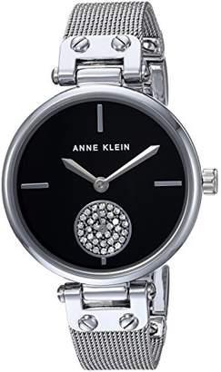 Anne Klein Women's AK/3001BKSV Swarovski Crystal Accented Silver-Tone Mesh Bracelet Watch
