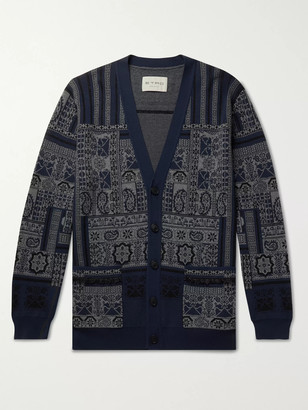 Etro Fringed Printed Wool, Linen And Silk-Blend Cardigan