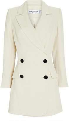 Self-Portrait Twill Tuxedo Double-Breasted Blazer Dress