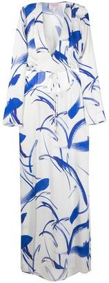 Galvan Two-Tone Long-Sleeved Maxi Dress