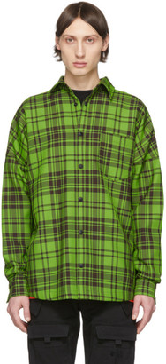 Palm Angels Green and Black Check Logo Overshirt