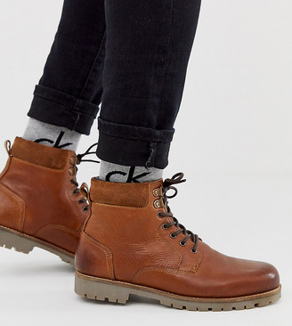 ASOS DESIGN Wide Fit lace up worker boots in tan leather