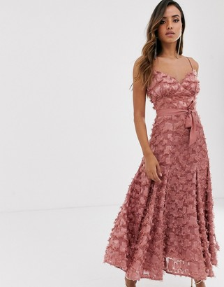 Forever U midi dress with fringe 3D fabrication in dusty rose