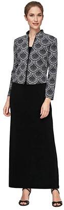 Alex Evenings Solid Column Dress with Printed Mandarin Neck Zip Jacket (Black/White) Women's Dress