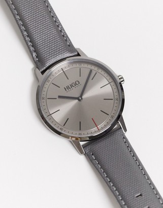 HUGO BOSS exist watch with grey leather strap