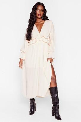 Nasty Gal Womens Attention Pleat Plus Maxi Dress - Cream