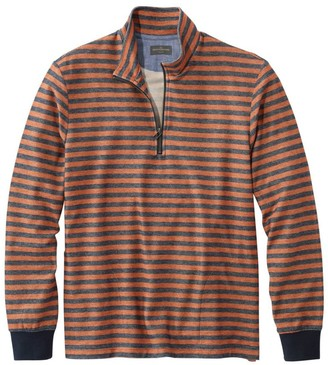 L.L. Bean Signature French Terry Pullover, Quarter-Zip, Long Sleeve, Stripe, Slim Fit