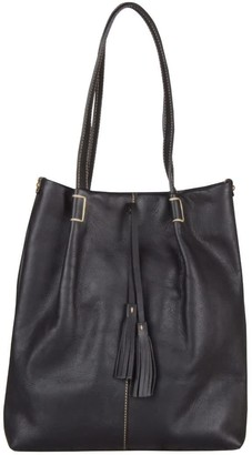Touri Genuine Leather Tote With Tassels In Black