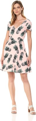 BB Dakota Women's Leni Pineapple Print Fit and Flare Dress