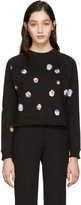 Christopher Kane Black Pansy Floral Pullover