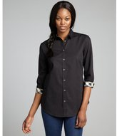 Burberry black stretch cotton three quarter sleeve blouse
